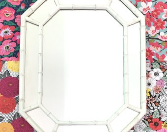White Bamboo Wooden Mirror Chippendale Chinoiserie