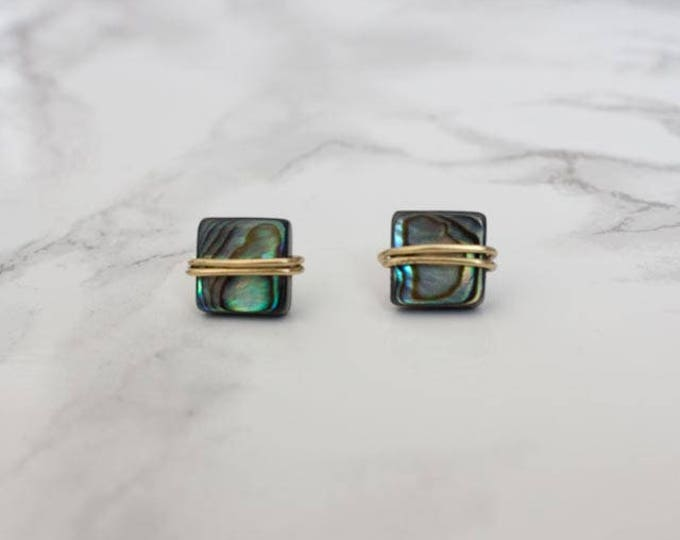 Wire Wrapped Abalone Stud Earrings