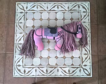 SALE Soft Sculpture Plush Yarn Horse in Pink, Purple and Gray