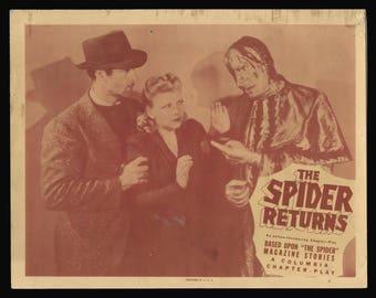 THE SPIDER RETURNS original 1941 lobby card movie serial
