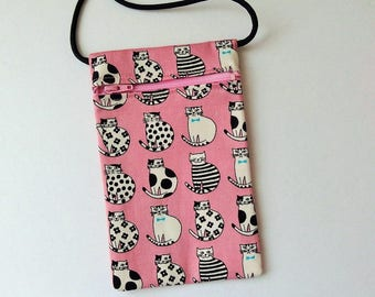 Pouch Zip Bag CATS PINK Fabric - great for walkers, markets, travel. Cell Phone Pouch. Small fabric Purse. Cross Body bag. black white cats