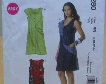 FREE SHIPPING! McCall's 6280 Asymmetrical semi-fitted dress sewing pattern 8 10 12 14 UNCUT