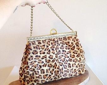 Vintage Mid Century Plush Leopard Print Purse Handbag