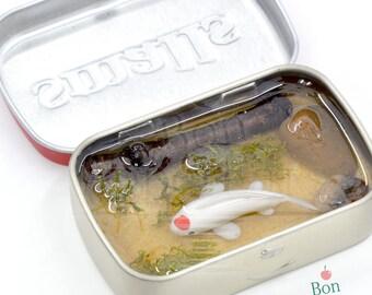 Miniature Resin Koi Pond Inside Altoids Smalls Mint Container Version 3, Polymer Clay Miniature Koi Fish, Altoids Pond, Koi Pond Sculpture