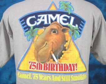 NOS vintage 80s CAMEL CIGARETTES Pocket T-Shirt *Xs* *Small* *Medium* *Large* gt racing tobacco cartoon marlboro soft thin