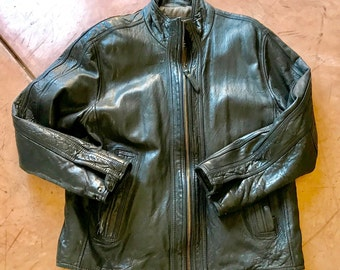 ANDREW MARC MOTORCYCLE Leather Jacket Men's Size Large, Designer, Lined, Beautiful Distressed Patina, Well Loved