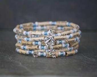 Book page bracelet, Joy Luck Club, Joy Luck Club bracelet, book bracelet, book lover gift, Amy Tan, literary gift, recycled book bracelet