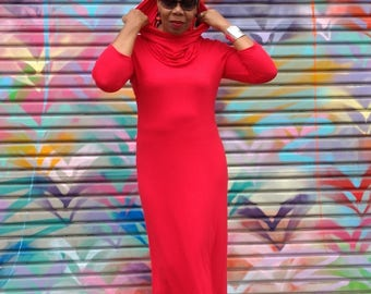 Red Turtleneck Maxi Dress, Cowl Neck Jersey Maxi Dress, Three Quarter Sleeve Knit Maxi Dress ~ XS To 4X