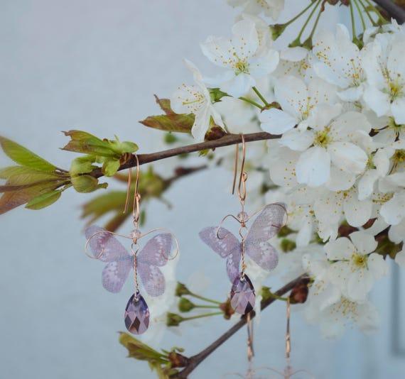 Butterfly Earrings - Rose Gold Earrings