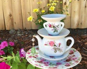 Repurposed Tea Pot Garden Totem, Upcycled Garden Stake, Recycled Garden Art, Yard Decor, Floral Tea Pot Decor, Garden Whimsy, Bird Feeder