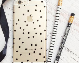Black Polka Dots Clear iPhone Case - Slim Case for iPhone 6/6s and 6/6s Plus - For Her, Preppy, Chic, Fun, Tech Accessory, Modern