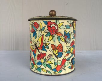 Vintage Daher Round Butterfly Biscuit Tin Floral and gold accents Faux Cloisonne Daher Canister Made in England