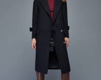 Wool coat, long coat, womens coat, winter coat, black coat, straight hem coat, coat, jacket, wool black coat, maxi winter coat  C955