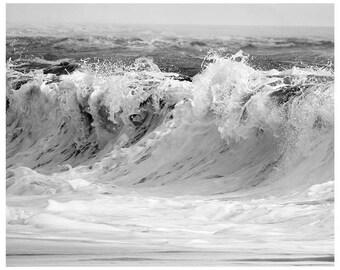 Ocean Wave art print, Black and white Ocean photography, Coastal wall art, wave print, water art, nautical wall decor, 11x14, 12x16, 20x30