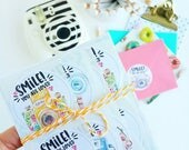 Smile you are loved watercolor camera stickers packaging supplies