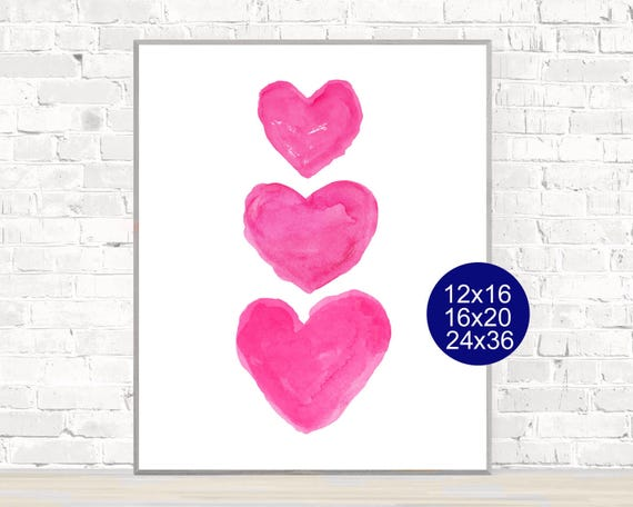 Large Hot Pink Heart Print for Girls Room, 12x16, 16x20, or 24x36