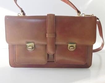 REDUCED Beautiul 1970s Faux Leather Brown Shoulder Satchel Messenger Handbag Bag