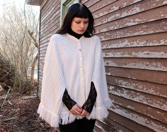 70s Fringed Sweater CAPE CARDIGAN TOP Vintage White Hand Knit Jacket Button Up Spring Summer Festivals Poncho Retro Women's All Size Sweater