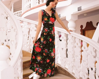 vintage 1970s bright floral on black slinky maxi dress