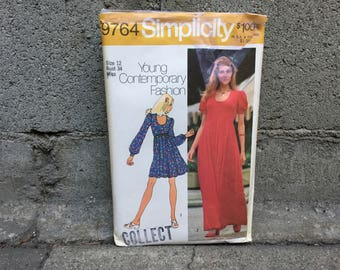 70's Simplicity 9764 Pattern // Misses' Dress in Two Lengths - Size 12 Bust 34 FF