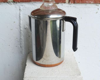 Vintage Aluminum/Stainless Steel Stove top Percolator Coffee Pot with Copper Bottom