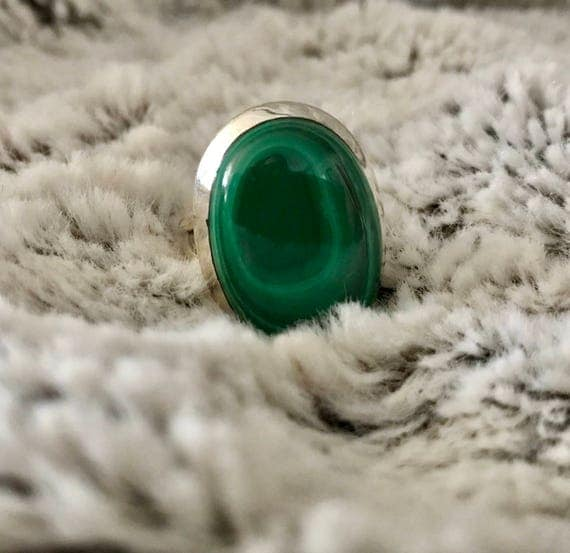 Sterling Silver Malachite Ring- Stone of Transformation and Balance
