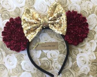 Burgundy and Gold Mickey Mouse Ears, Mouse Ears Headband, Disney Themed Belle Headband, Minnie Bow, Burgundy Flower Mouse Ears Headband