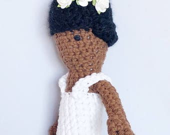 Billie Holiday Crocheted Doll - Billie Holiday Amigurumi Stuffed Doll - Lady Day Amigurumi Crocheted Doll