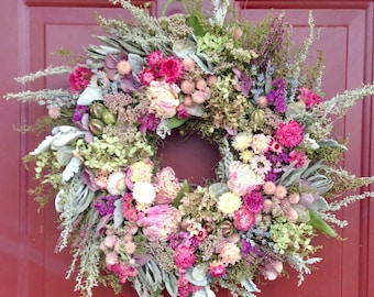 Dried Flower Wreath, Wreath,Dried Flowers, Housewarming,Cottage,Country,Victorian Decor,Wreath,Dried Peony Wreath,Floral Arrangement, Gift