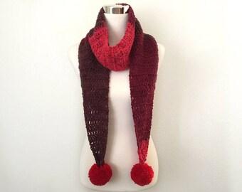 cherry crochet pom pom scarf