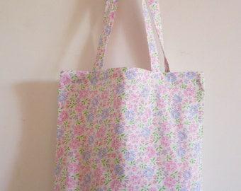 tote bag / romantic floral cotton tote bag