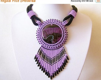 15% SALE Statement Bead Embroidery Necklace  - Beadwork Pendant Necklace with with Druzy Agate - LILAC BEAUTY - black and lilac modern neckl