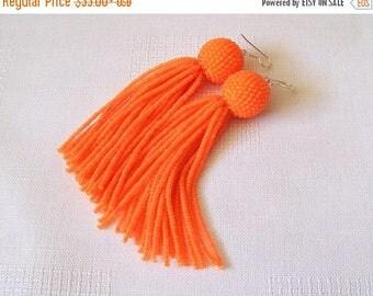 15% SALE Neon Orange beaded tassel earrings - Dangle earrings - Statement Bright Earrings - Long tassel earrings - Fringe earrings - party e