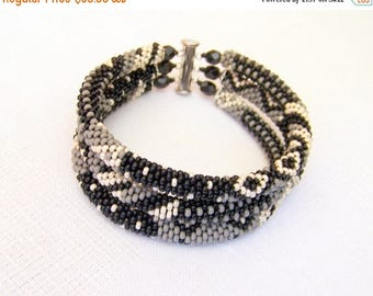 15% SALE Beadwork - 3 Strand Bead Crochet Rope Bracelet in black, grey and beige - beaded jewelry - seed beads bracelet