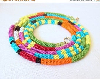 15% SALE Long Beaded Crochet Rope Necklace - Beadwork - Seed beads jewelry - African style necklace - Elegant - Geometric  - Colorful neckla