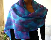 Hand Dyed Silk Scarf. 14x72 inch Turquoise Silk Scarf.  Pink, Purple & Marine Blue. Habotai Silk Scarf.  Teal Blue Scarves. Gift Idea.