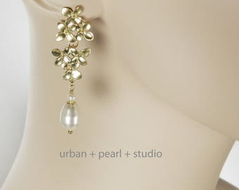 Long Gold Flower Earrings Pearl Dangles Flower Bridal Earrings Dogwood Flowers Swarovski Pearls