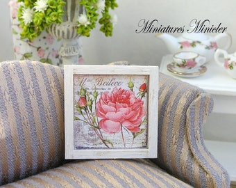 Miniature Dollhouse Framed Painting - Rose Flowers