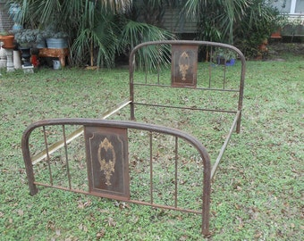 Bed frame etsy for How to paint a metal bed frame