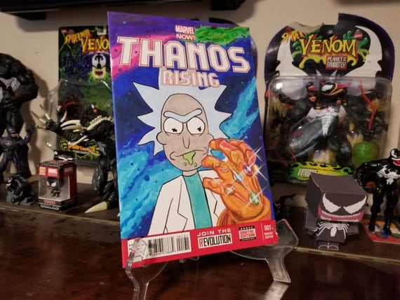Thanos Rising #1 Sketch Cover w Rick and Morty Sketch