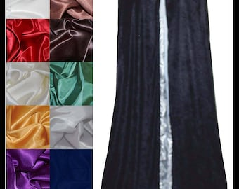 Navy Blue Crushed Velvet Cloak lined with a Shimmer Satin of your choice. Ideal for LARP LRP Medieval Cosplay Costume. NEW!