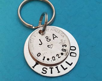 25 year anniversary gift, U.S. quarter keychain, Twenty five year gift, 25th Anniversary Gift for Him, Gift for Her, Custom Couples Gift