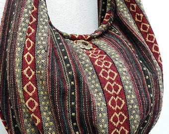Handmade Woven Bag Handbags Purse Tote Thai Cotton Bag Hippie bag Hobo bag Boho bag Shoulder bag Women bag Everyday bag Short Strap (WF6)