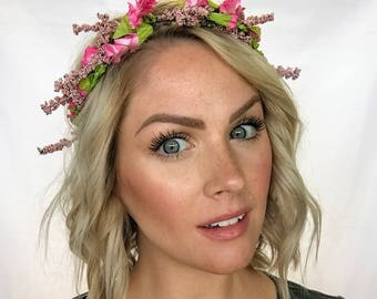 The Celeste - Dainty Pink Wildflower and Berry Floral Crown Head Wreath Halo