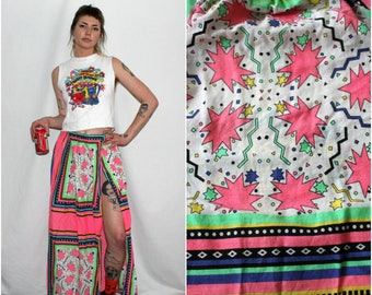 Vintage neon Pink 80s Wrap Skirt. Funky Bright Multi Colored Starburst Neon Pink And Green Womens Long Wrap Skirt.Totally 80s Womens Clothes