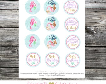 Printable Cupcake Toppers, Mermaid Cupcake Toppers, Mermaid Party, Birthday, Mermaid Bridal Shower, Watercolor Mermaid, Mermaid Cupcake pick
