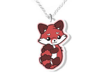 Red panda necklace animal necklaces animals jewelry cute jewellery redpanda products kawaii fox gifts christmas gift idea birthday present