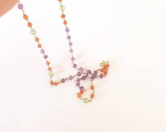 Gemstone necklace, Gemstone choker necklace, beaded necklace, Peridot, Amethyst, Carnelian, Layering necklace, Rosary chain, Dainty gemstone