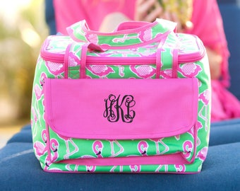 Flamingle Cooler Lunch Tote - May be Monogrammed - Hot Pink and Mint Flamingo Design Personalized Insulated Bag