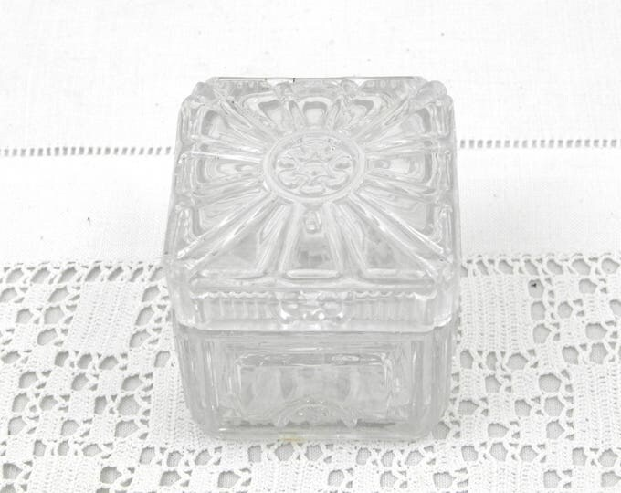 Small Antique Art Deco Lead Crystal Box Made by Baccarat in France, High Quality Glass Trinket Box, Shabby Chic Chateau Decor